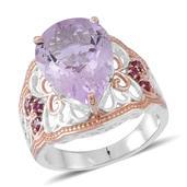 Rose De France Amethyst, Orissa Rhodolite Garnet 14K RG Over and Sterling Silver Ring (Size 6.0) TGW 10.040 cts.