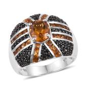Santa Ana Madeira Citrine, Thai Black Spinel Platinum Over Sterling Silver Ring (Size 8.0) TGW 4.13 cts.