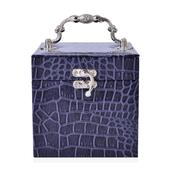 3 Tier Navy Blue Crocodile Embossed Faux Leather Vintage Handle Cube Jewelry Box with Jewelry Protection Treated Fabric (Approx. 21 Rings)(5x5x5 in)
