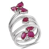 Niassa Ruby Platinum Over Sterling Silver Multi Band Open Knuckle Ring (Size 7.0) TGW 4.950 cts.