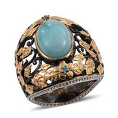 GP Larimar, Malgache Neon Apatite Black Rhodium and 14K YG Over Sterling Silver Ring (Size 6.0) TGW 7.615 cts.