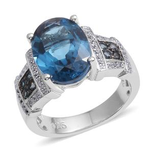 London Blue Topaz, White Zircon Black Rhodium Sterling Silver Ring (Size 7.0) TGW 7.400 cts.
