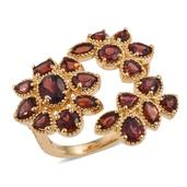 Mozambique Garnet 14K YG Over Sterling Silver Floral Ring (Size 7.0) TGW 7.10 cts.