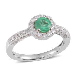 14K WG Boyaca Colombian Emerald, Diamond Halo Ring (Size 7.0) TDiaWt 0.46 cts, TGW 0.86 cts.