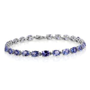 Tanzanite Platinum Over Sterling Silver Bracelet (6.50 In) TGW 9.55 cts.