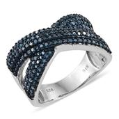 Blue Diamond (IR) Platinum Over Sterling Silver Criss Cross Ring (Size 9.0) TDiaWt 0.96 cts, TGW 0.960 cts.