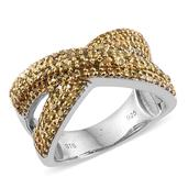 Yellow Diamond (IR) Platinum Over Sterling Silver Criss Cross Ring (Size 8.0) TDiaWt 1.00 cts, TGW 1.000 cts.