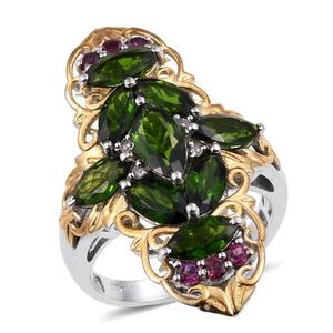 Russian Diopside, Orissa Rhodolite Garnet, White Topaz 14K YG and Platinum Over Sterling Silver Elongated Ring (Size 8.0) TGW 6.530 cts.