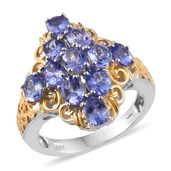 Tanzanite 14K YG and Platinum Over Sterling Silver Openwork Ring (Size 8.0) TGW 4.00 cts.