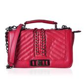 J Francis - Red Quilted Faux Leather Flap Over Crossbody Bag with Chain Strap (9.5x3x6 in)