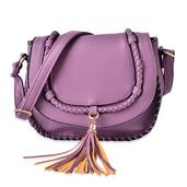 J Francis - Purple Faux Leather Crossbody Bag (9.4x3x8.2 in)