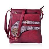 J Francis - Burgundy Faux Leather Crossbody Bag (10x2x10.5 in)