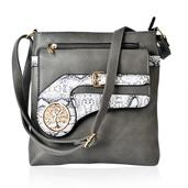 J Francis - Gray Faux Leather Crossbody Bag (10x2x10.5 in)