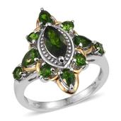 Russian Diopside 14K YG and Platinum Over Sterling Silver Ring (Size 8.0) TGW 2.770 cts.
