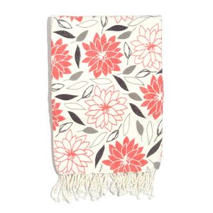 White and Coral Floral Print 100% Cotton Brushed Throw with Fringe (60x48 in)