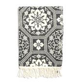 Buyer's Pick White and Black Geometric Pattern 100% Cotton Brushed Throw with Fringes