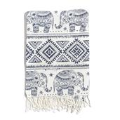 White and Black Elephant Print 100% Cotton Brushed Throw with Fringes