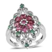 Pink Tourmaline, Kagem Zambian Emerald Platinum Over Sterling Silver Ring (Size 7.0) TGW 1.590 cts.
