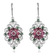 Pink Tourmaline, Kagem Zambian Emerald Platinum Over Sterling Silver Lever Back Earrings TGW 3.361 Cts.