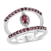 Mahenge Rose Spinel, White Topaz Platinum Over Sterling Silver Open Double Band Split Ring (Size 6.0) TGW 1.26 cts.