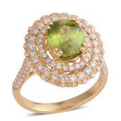 Customer Day 14K YG Madagascar Sphene, Diamond Ring (Size 7.0) TDiaWt 1.05 cts, TGW 3.84 cts.