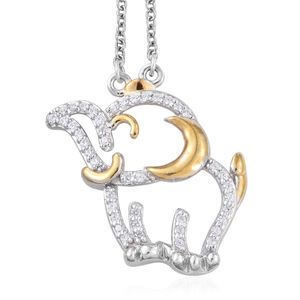 14K YG and Platinum Over Sterling Silver Elephant Pendant With Stainless Steel Chain (20 in) Made with SWAROVSKI ZIRCONIA TGW 0.62 cts.