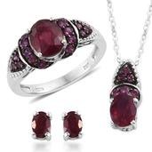 Niassa Ruby, Orissa Rhodolite Garnet Platinum Over Sterling Silver Earrings, Ring (Size 6) and Pendant With Chain (20 in) TGW 6.540 cts.