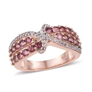 Pink Tourmaline, White Topaz 14K RG Over Sterling Silver Ring (Size 9.0) TGW 1.690 cts.