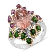 Morganique Quartz, Multi Gemstone 14K YG and Platinum Over Sterling Silver Ring (Size 9.0) TGW 10.590 cts.