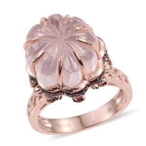 Galilea Rose Quartz, Orissa Rhodolite Garnet 14K RG Over Sterling Silver Ring (Size 10.0) TGW 19.41 cts.