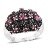 Morro Redondo Pink Tourmaline, Thai Black Spinel Black Rhodium & Platinum Over Sterling Silver Cluster Ring (Size 5.0) TGW 2.41 cts.