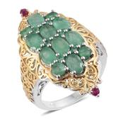 Kagem Zambian Emerald, Ruby 14K YG and Platinum Over Sterling Silver Elongated Openwork Ring (Size 7.0) TGW 4.580 cts.