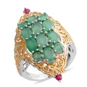 Kagem Zambian Emerald, Ruby 14K YG and Platinum Over Sterling Silver Elongated Openwork Ring (Size 8.0) TGW 4.580 cts.