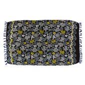 Black Floral Print 100% Rayon Sarong (71x47 in)