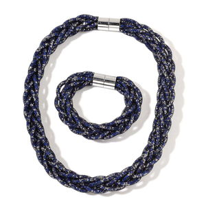 Blue Chroma Beads Silvertone Mesh Bracelet (8 In) and Necklace with Magnetic Clasp (20.00 In)In)