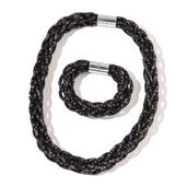 Black Chroma Beads Silvertone Mesh Bracelet (8 In) and Necklace (20.00 In)