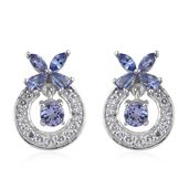 Tanzanite, White Topaz Platinum Over Sterling Silver Butterfly Dangle Earrings TGW 3.84 cts.