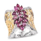 Morro Redondo Pink Tourmaline, White Zircon 14K YG and Platinum Over Sterling Silver Openwork Knuckle Ring (Size 7.0) TGW 2.55 cts.