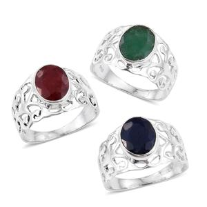 Set of 3 Artisan Crafted Blue Sapphire, Ruby and Emerald (Color Enhanced) Sterling Silver Openwork Rings (Size 7) TGW 9.240 cts.