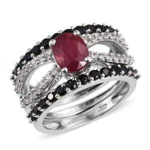 Set of 3 Niassa Ruby, Thai Black Spinel, White Topaz Platinum Over Sterling Silver Stack Rings (Size 9.0) TGW 4.900 cts.