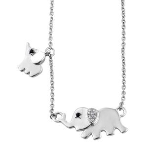 Kid's Collection - Thai Black Spinel, White Topaz Platinum Over Sterling Silver Elephant Neklace with Stainless Steel Chain (20 in) TGW 0.08 cts.