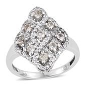 Turkizite, White Zircon Platinum Over Sterling Silver Ring (Size 6.0) TGW 3.15 cts.