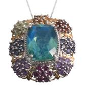 Peacock Quartz, Multi Gemstone 14K YG and Platinum Over Sterling Silver Pendant With Chain (20 in) TGW 12.10 cts.