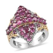 Pink Tourmaline 14K YG and Platinum Over Sterling Silver Openwork Ring (Size 6.0) TGW 3.620 cts.