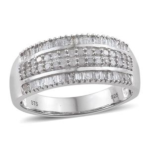 Diamond Platinum Over Sterling Silver Ring (Size 7.0) TDiaWt 0.75 cts, TGW 0.750 cts.