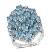 Cambodian Blue Zircon Sterling Silver Elongated Cluster Ring (Size 7.0) TGW 6.57 cts.