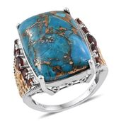 Mojave Blue Turquoise, Mozambique Garnet 14K YG and Platinum Over Sterling Silver Openwork Ring (Size 8.0) TGW 23.19 cts.