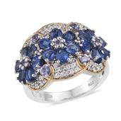 Himalayan Kyanite, Tanzanite, White Zircon 14K YG and Platinum Over Sterling Silver Ring (Size 6.0) TGW 3.900 cts.