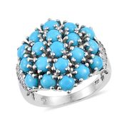 Arizona Sleeping Beauty Turquoise, White Zircon Platinum Over Sterling Silver Cluster Ring (Size 5.0) TGW 4.61 cts.