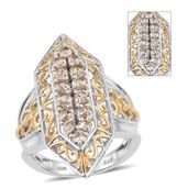Turkizite 14K YG and Platinum Over Sterling Silver Elongated Ring (Size 7.0) TGW 2.25 cts.